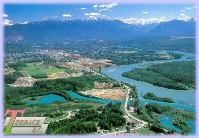 Sitting along the mighty skeena river amidst gorgeous for Use terrace in a sentence