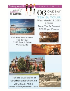 Oak Bay Beach Hotel TEA & TOUR Sidney Meet Up flyer TO EMAIL